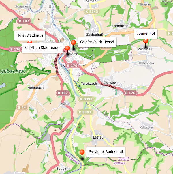 Map of Colditz Hotels, Germany