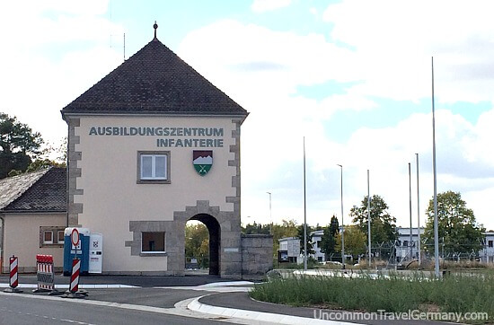 Entry gate to German Infantryschool, Lager Hammelburg, old Stalag 13 POW camp