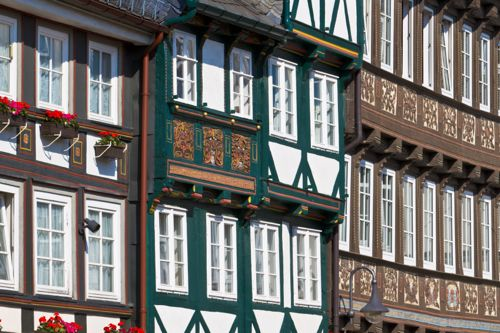 carved wooden houses, goslar, germany