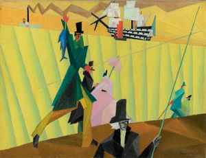 lyonel feininger, angler with blue fish 2
