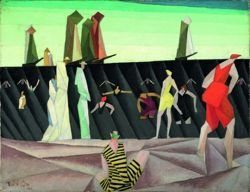 lyonel feininger, bathers on the beach