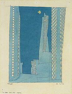 lyonel feininger, blue skyscrapers