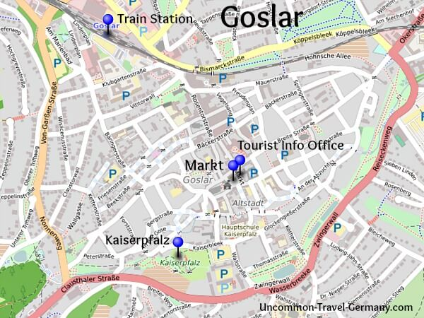 Map of Goslar, Harz Mountains