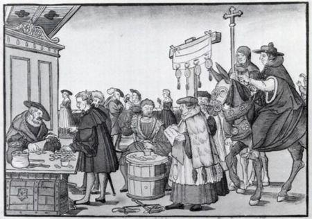 sale of indulgences, old print