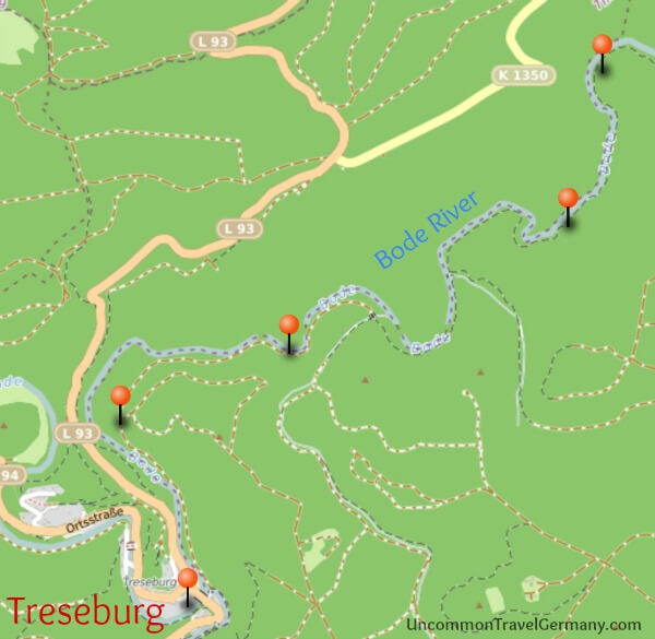 Map of Hike from Thale to Treseburg, Part 2