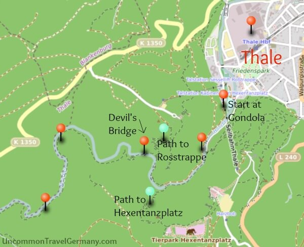 Map of Hike from Thale to Treseburg, Part 1