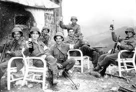 3rd infantry, american soldiers, celbrating with wine, berghof 1945