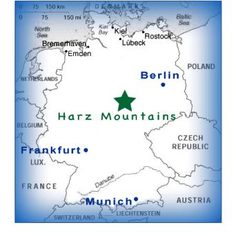 map of harz mountains, germany