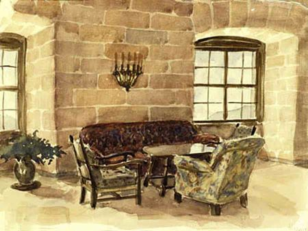 hitlers eagles nest, reception room, hitler paintings