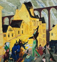 lyonel feininger, carnival in arcueil