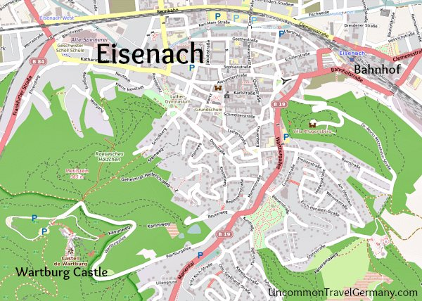 Map of Eisenach and Wartburg Castle