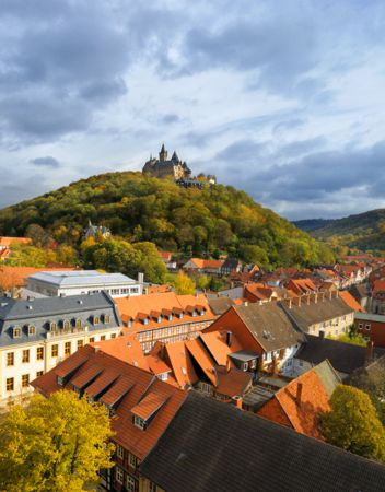 wernigerode castle, town roofs