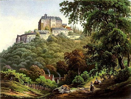 painting of wernigerode castle and coutryside, mid 1800s