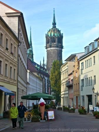 wittenberg germany  street, view of castle church
