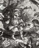 Etching of gnome hammering shoe in forest