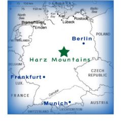 Germany map with Harz area marked