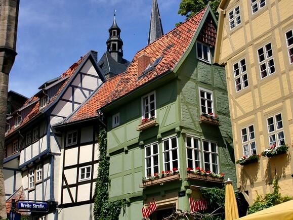 Colorful houses on the Markt, Quedlinburg, Germany