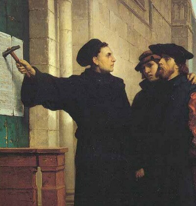 Martin Luther points to 95 theses, painting