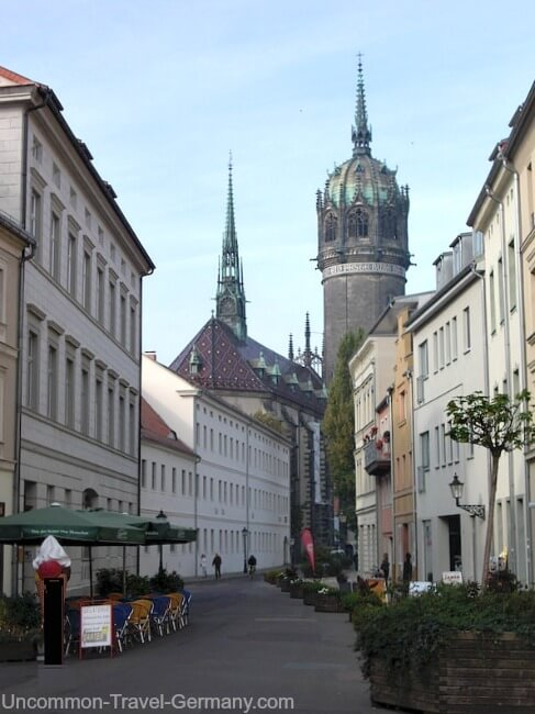 Castle Church at end of Schlossstrasse, Wittenberg Germany