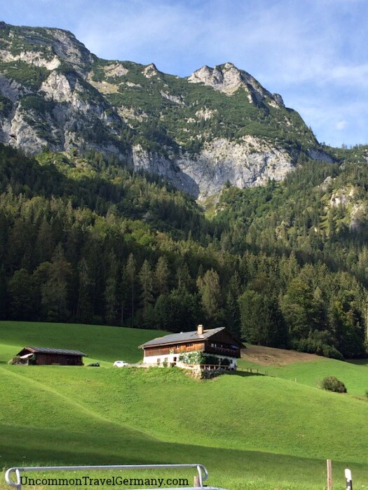 Alpine house under the mountains near Berchtesgaden and Hintersee