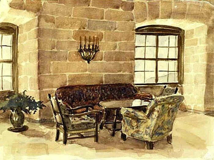 Hitler's watercolor painting of the Eagle's Nest reception area