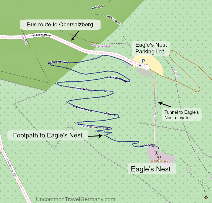 Map of footpath to Eagle's Nest from upper bus parking lot.