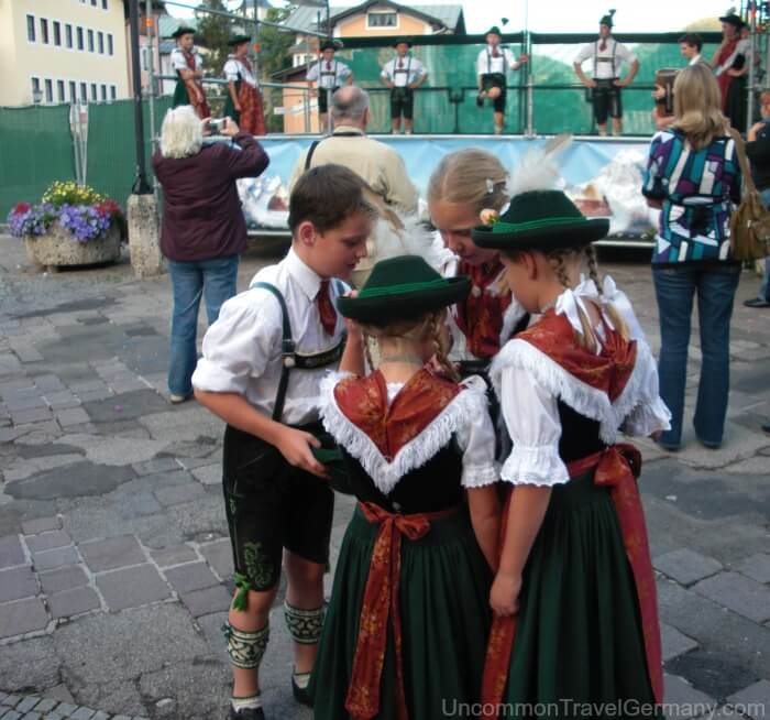 Berchtesgaden Germany, local children in Bavarian costumes