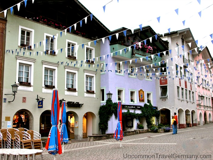 Street in Berchtesgaden Germany, with pennants flying