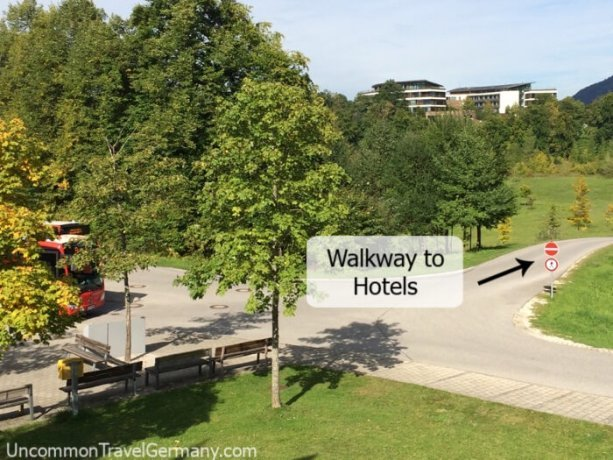 Walkway from Eagles Nest bus stop towards Hotel Kempinski and Hotel zum Turken
