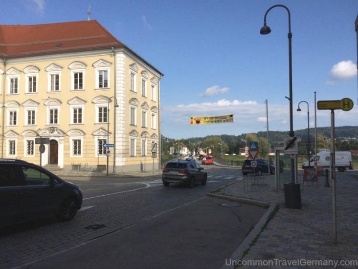 View of entrance into Braunau am Inn from bridge