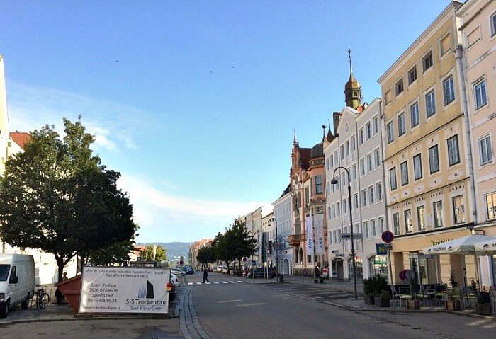 Yellow house on Stadtplatz where Napoleon slept, in Braunau am Inn Austria.
