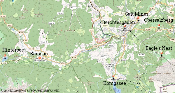 Map of attractions in the Berchtesgaden area