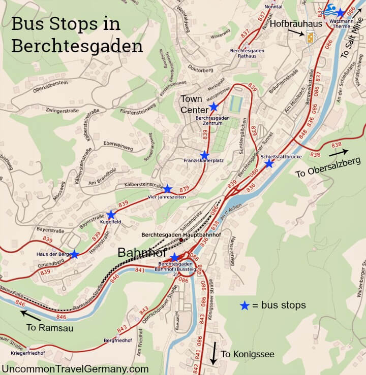 Map of bus stops in the town of Berchtesgaden