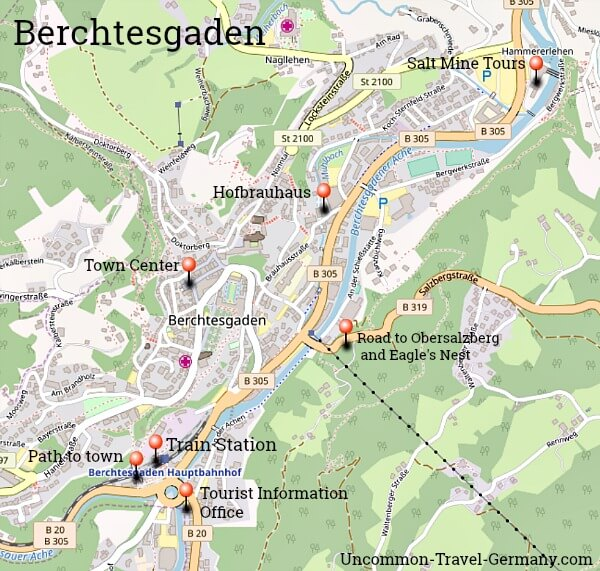 Map of Berchtesgaden with useful sites marked