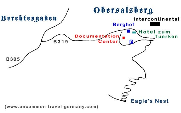 Drawn map of Berchtesgaden and Obersalzberg locations