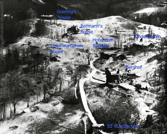Aerial view of Obersalzberg after bombing with buildings marked