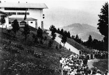 Crown of fans waiting on road near Berghof to see Hitler