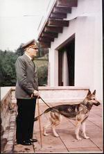 Hitler with Blondi on the Berghof terrace, in color