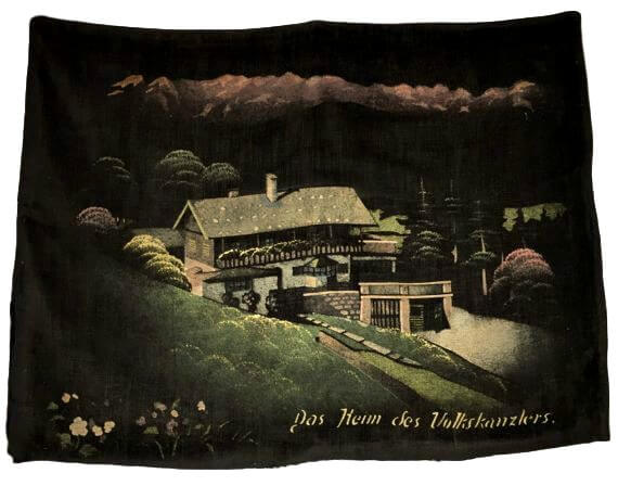 Velvet pillowcase with painting of Haus Wachenfeld on the Obersalzberg