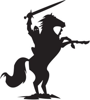 silhouette of knight on horseback