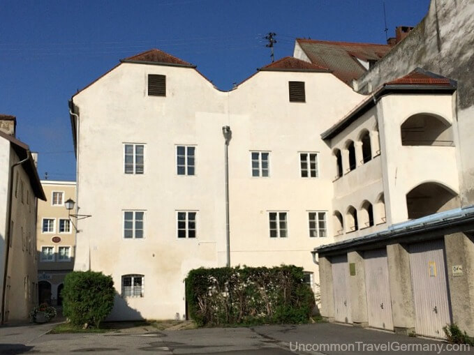 Rear of Hitler's birthplace in Braunau am Inn, Austria