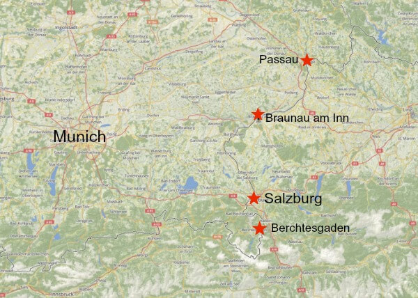 Map showing location of Munich, Berchtesgaden, Passau, Salzburg and Braunau am Inn