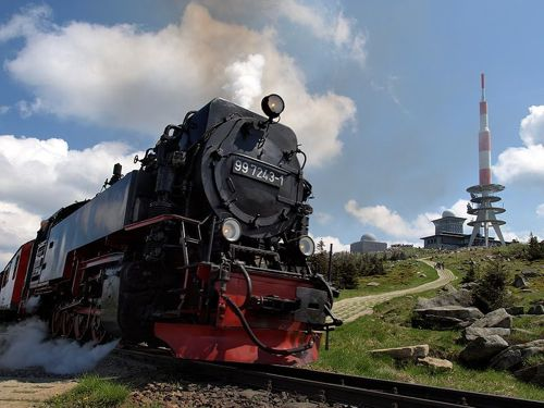 Steam engine at summit of Brocken, Harz Mountains