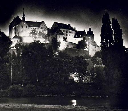 Colditz Castle in 1943, night scene