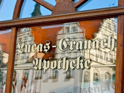 Sign for Cranach's Apotheke, Wittenberg, Germany