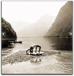 Eva Braun on beach at Lake Konigssee, Germany