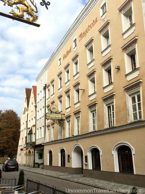 Outside of Hotel Mayrbrau in Braunau am Inn, Austria