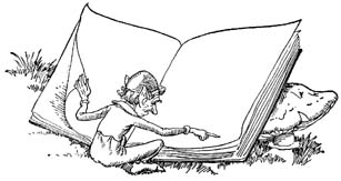 Gnome reading a large book