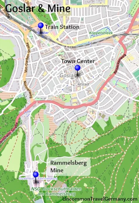 Map of Goslar, Harz, Germany, and Rammelsberg Mine location