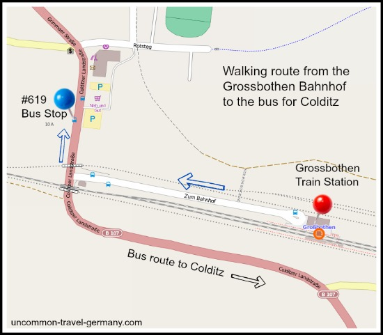 Map showing how to transfer to the bus to Colditz at the Grossbothen train station